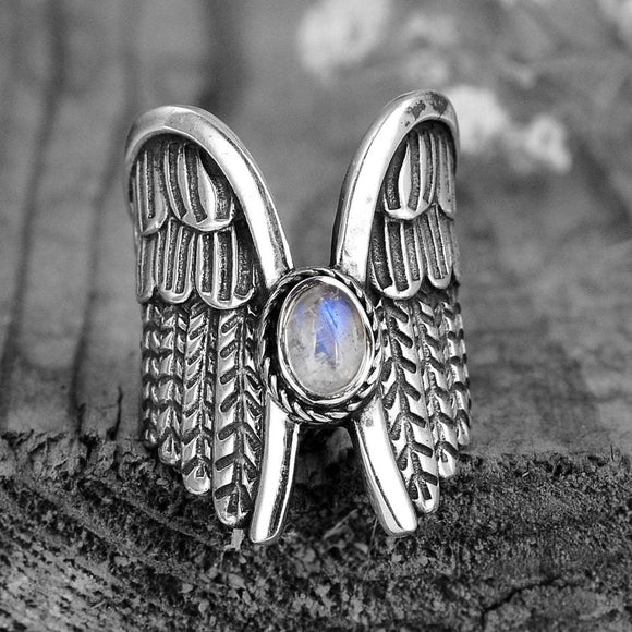 Vintage Thai Silver Color Angel Wings Moonstone Feather Ring Womens Unique Personalized Jewelry