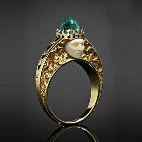 Mysterious Human Face Egyptian Pharaoh Rings for Men Green Rhinestone Vintage Punk Gold Color Signet Finger Ring Jewelry Z4M395