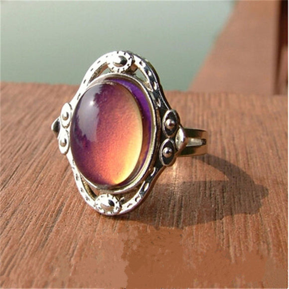 Vintage Retro Color Change Mood Ring Oval Emotion Feeling Changeable Ring Temperature Control Ring