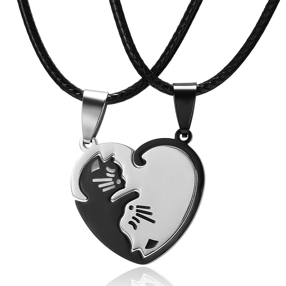 Rinhoo 1 pair splice Cat Couple Necklace Stainless Steel love heart Round Yin Yang pendant necklace fashion jewelry Unisex gift