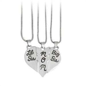 "3Pcs/Set Lettering Necklaces For Women ""Little Sis MOM Big Sis"" Love Heart Pendant Family Necklace Jewelry"