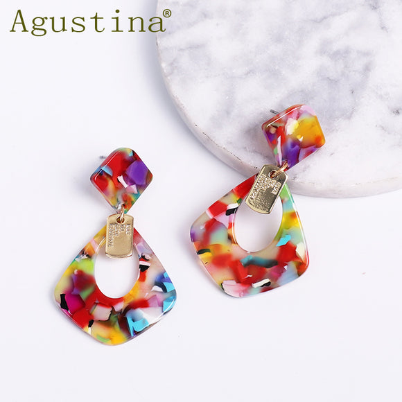 Agustina Small Earrings Fashion Jewelry Resin Drop Earrings for Women Dangle Spring Earrings Bohemian Earring Acrylic Geometric
