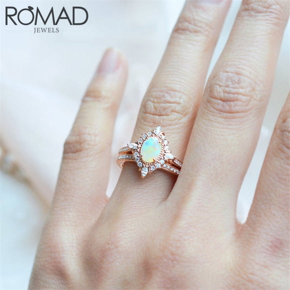 ROMAD Dainty Rainbow Fire Opal Ring for Women Magic Mirror Crystal Wedding Ring Female Zirconia Vintage AAA CZ Finger Ring Gifts