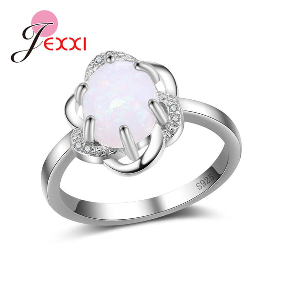 Unique Ring for Grace Women Gifts 925 Silver Vintage White Opal Stone Luxury Jewelry Promotion Sales