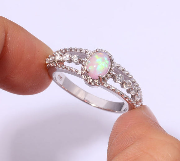 Bamos Vintage 925 Silver Filled Wedding Rings For Women Oval White Fire Opal Engagement Ring Unique Bohemian Jewelry Best Gift