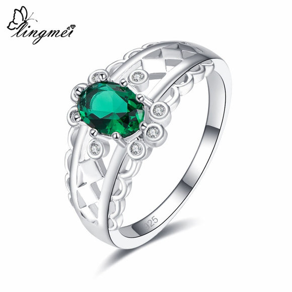 Lingmei Vintage Fashion Style Oval Cut Green & White & Blue Zircon Silver Jewelry 925 Ring Size 6 7 8 9 Wedding Women Gifts