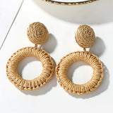 Geometric Drop Korean Dangle Earrings For Women Girls Oversize Round Rattan Knit 2019 New Style Jewelry Summer Beach Accessories