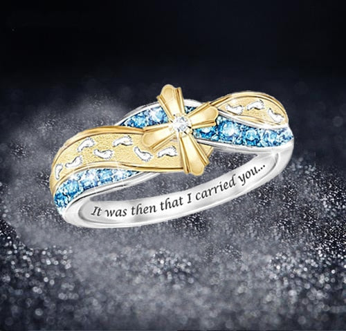 Exquisite Silver Plated Foot Blue Crystal Wedding Rings for Women Eternity Christian Gold Cross Ring Fashion Party Gifts Jewelry