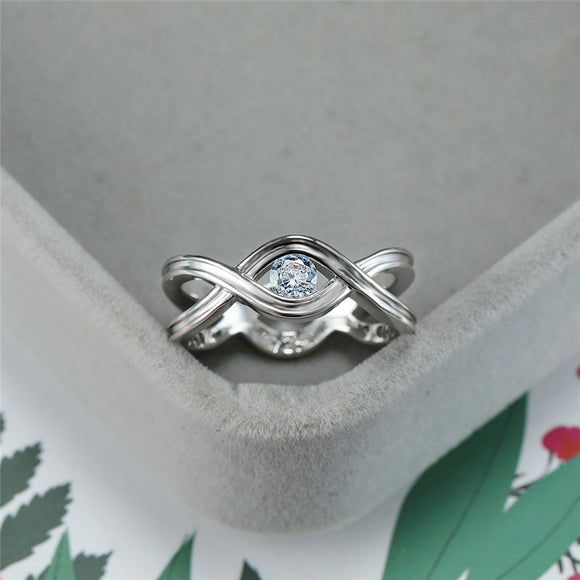 Dainty Female White Round Crystal Ring Vintage Silver Cross Infinity Wedding Rings For Women Cute Bridal Hollow Engagement Ring