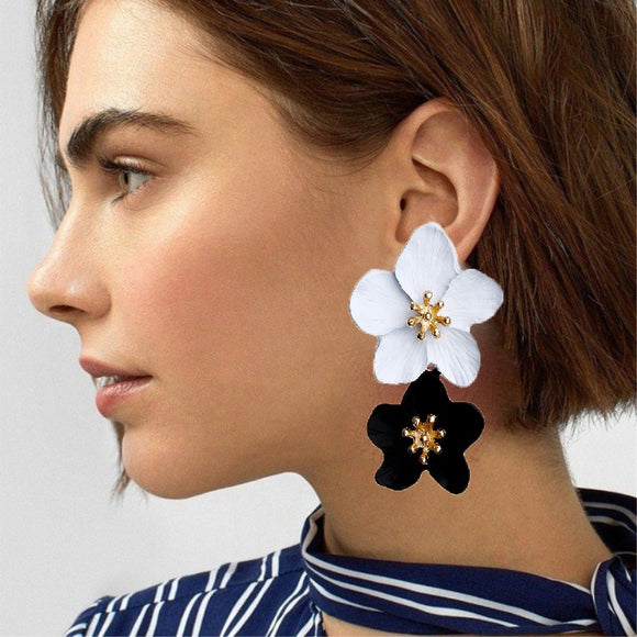 2020 New Design Fashion Jewelry Big Double Flower Mixed Color Earrings For Women Summer Style Party Wedding Exaggerated Earrings