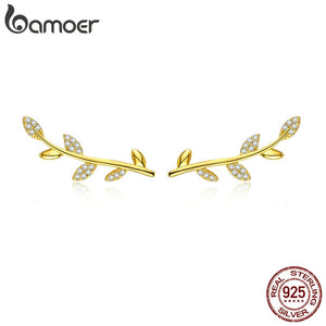 BAMOER Spring Collection 925 Sterling Silver Tree Leaves Gold Color Clear CZ Stud Earrings for Women Fine Jewelry SCE556