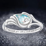 Fashion Angel's Wing Rings for Women Silver Color Rainbow Stone Ring With Letters Jewelry Gifts Dropshipping