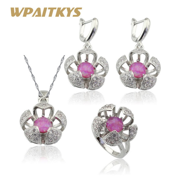 Red White Blue Opal Silver Color Bridal Jewelry Sets Women Flower Shape Earrings Necklace Pendant Ring Free Gift Box