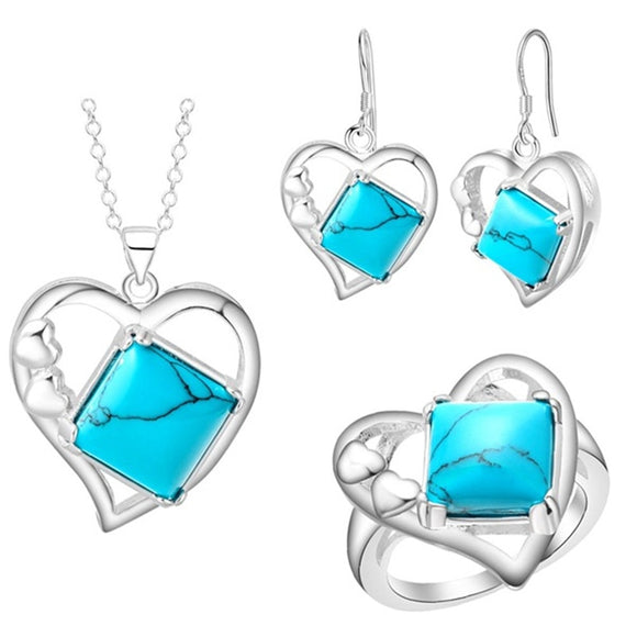 FDLK    Vintage Princess Cut Zinc Alloy Pendant Necklace Earrings Ring Heart Jewelry Set for Women Wedding Party Gifts