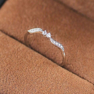 Fashion Bling Clear Crystal Angel's Wing Rings for Women Girls Engagement Wedding White Gold Color Finger Ring Dainty Jewelry