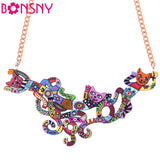Bonsny Cat Necklace Acrylic Brand 2016 New Pendant Accessories Autumn Winter Animal Multicolor Girl Woman Fashion Jewelry