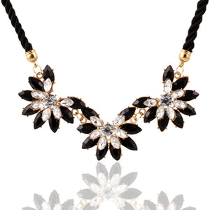 Hot sale Brand Design western style multi-layer Weave Rhinestone Flower water drop necklace jewelry statement New