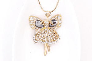 Angel Elves Crystal Rhinestone simple wild autumn and winter Korean Korean decorative jewelry chain necklace long sweater Ms E65