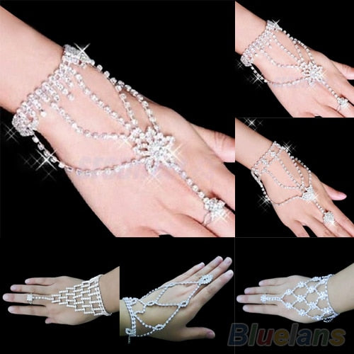 Bridal Wedding Crystal Rhinestone Slave Bracelet Wristband Harness Cuff  06WQ