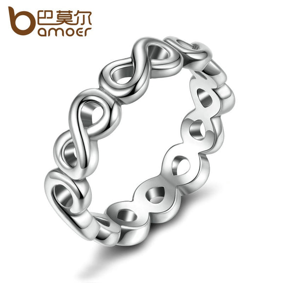BAMOER Classic Bow-knot Friendship Infinity Finger Rings Silver Color Ring for Women Fashion Wedding Jewelry PA7213 - The Rogue's Clothes