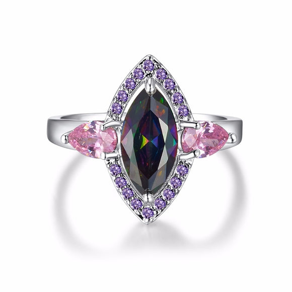 Punk Unique Big Marquise Cut Rainbow Stone Rings for Women Silver Color Party Brand Jewelry for 2016 Knuckle Accessories