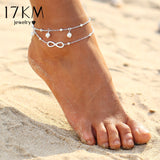 17KM Vintage Antique Silver Color Anklet Women Big Blue Stone Beads Bohemian Ankle Bracelet cheville Boho Foot Jewelry - The Rogue's Clothes