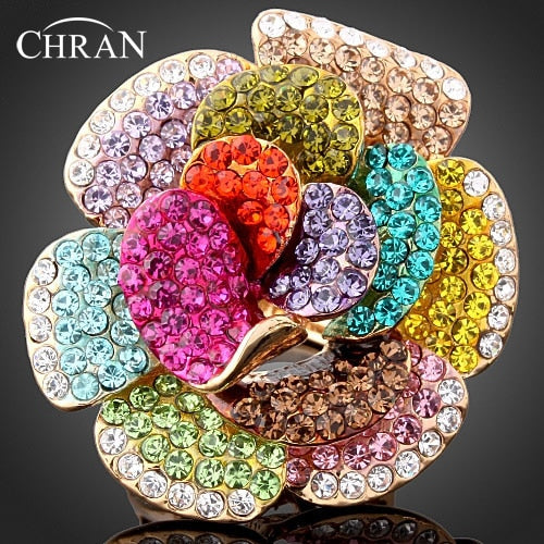 Chran Wholesale New Gold Color Rhinestone Crystal Rose Flower Rings For Women Fashion Jewelry Best Part Gifts Accessories