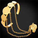 U7 Women Slave Bracelet Fashion Jewelry Wholesale Gold Color Round Antique Coin Bracelet For Women H753