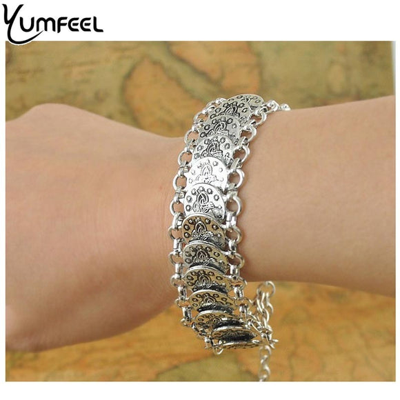 Yumfeel Gypsy Bohemian Jewelry Antique Silver Coin Bracelet for Women