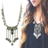 Bohemian Jewelry Vintage Coin Long Pendant Necklace Antique Silver Chain Gypsy Tribal EthnicTurkish Statement Boho Necklace - The Rogue's Clothes