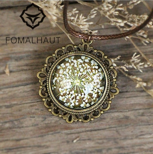 Hot FOMALHAUT Hand-painted Lace Flower Immortal flowers time gem Necklace Long Strip Pendant Necklaces Women 2015 Jewelry CX-124