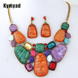 Kymyad Multicolor Stone Jewelry Sets For Women Fine African Beads Jewelry Set Vintage Statement Necklace Earrings Set For Women