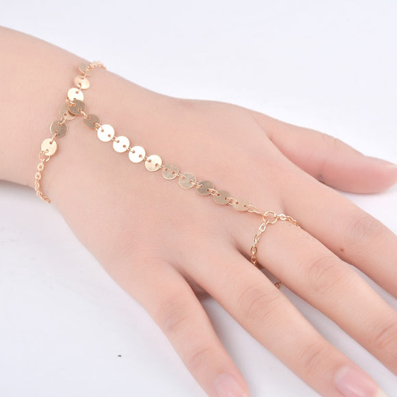 Handmade European Style Golden Color Copper Sequins Hand Finger Mitten Wrist Chain Slave Bracelet for Women Girls Hand Jewelry