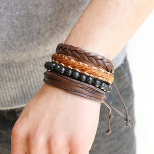 Multi-layer men and women bracelet Fashion Women Multilayer Handmade Wristband Leather Bracelet Bangle