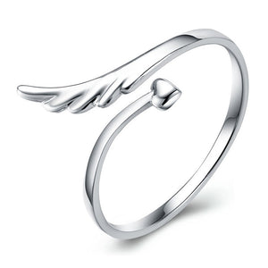 Hot Style silver color rings angel wings high end mirror surface heart woman open design classic fine jewelry