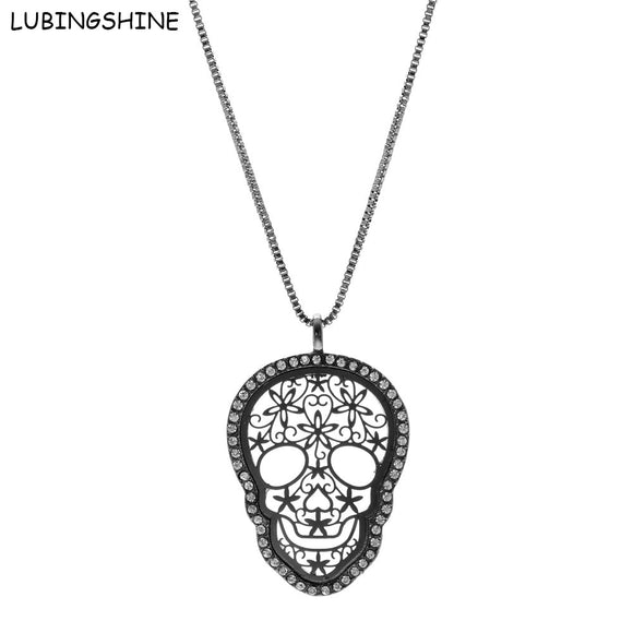 LUBINGSHINE 2017 New Hollow Jewelry Long Skull Pendants Necklaces Women's Winter Autumn Flower Sweater Chain Christmas Gifts