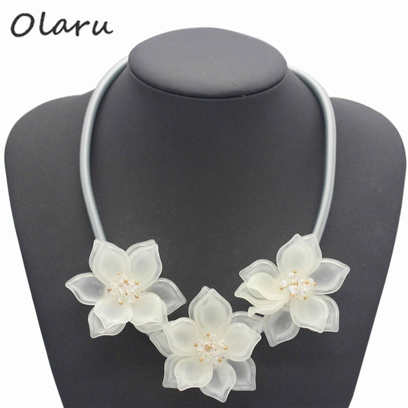 Olaru Jewelry Brand Fashion Crystal Flower Choker Necklace For Woman Rhinestone Maxi Statement Necklaces Accessories Wholesale