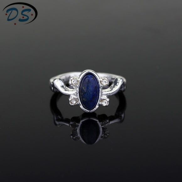 1 pc The Vampire Diaries Rings Elena Gilbert Daylight Rings Vintage Crystal Ring With Blue Lapis Fashion Movies Jewelry Cosplay - The Rogue's Clothes