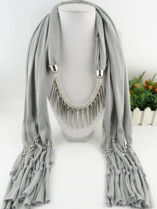 Spike Tassel Scarf Necklace pendants Scarves  autumn Women Necklace Scarf charm bohemian jewelry gift