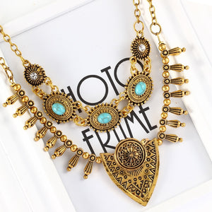 Turkish Gypsy Maxi Necklace U Pick Choker Necklace Bohemia Antique Gold Color Stone Crystal Multilayer Boho Jewelry