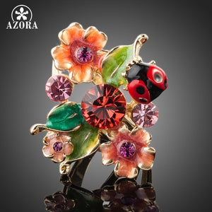 AZORA Gold Color Stellux Austrian Crystal Multicolour Insects and Flower Ring TR0087 - The Rogue's Clothes