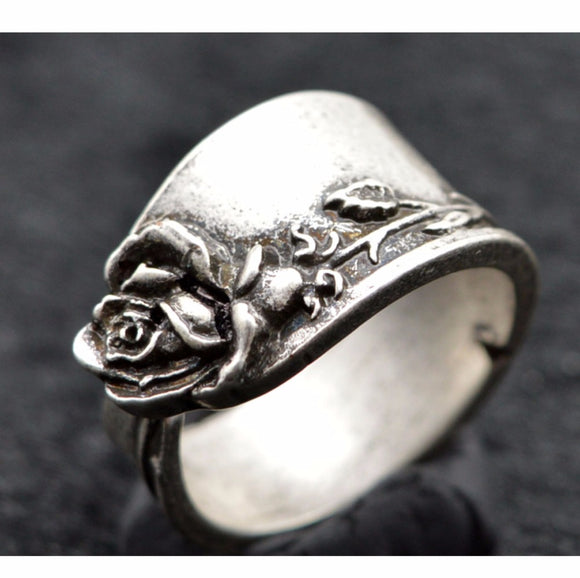 10pcs Handmade Vintage Silver Rose Spoon Ring Adjustable R-08 - The Rogue's Clothes