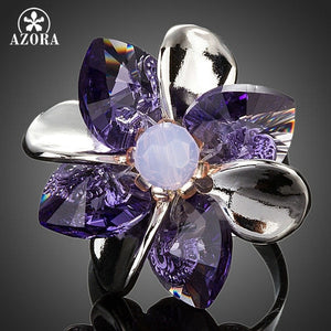 AZORA Elegant Purple Petals Flower With Stellux Austrian Crystal Adjustable Size Ring TR0118 - The Rogue's Clothes