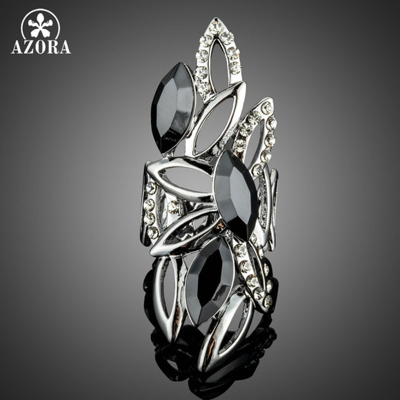 AZORA Novelty Big Size Hollow Design with Marquise Black Stellux Austrian Crystals Finger Rings TR0184 - The Rogue's Clothes