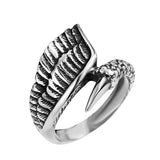 Mcllroy Feather Ring men Jewelry Ancient silver Claw rings Titanium steel ring Vintage Dragon wing Feather Rings Men jewelry