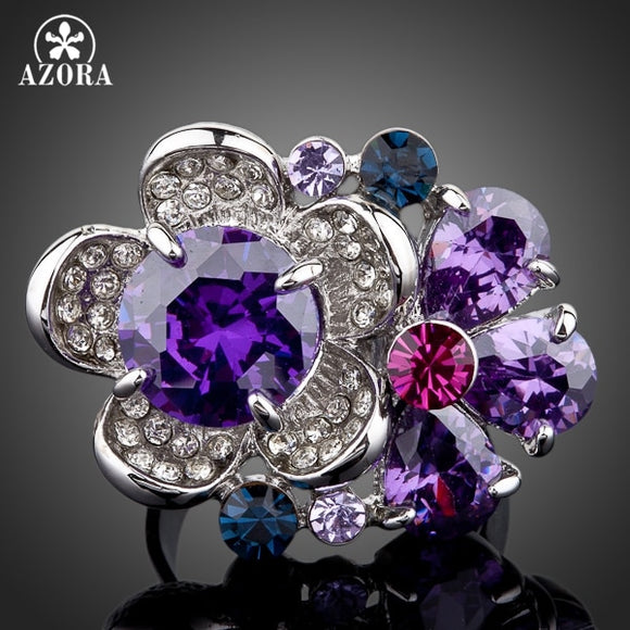 AZORA The Purple Flower Heart White Gold Color Stellux Austrian Crystal Adjustable Size Ring TR0062 - The Rogue's Clothes