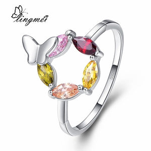 lingmei New Comes Marquise Cut Butterfly Design Gold & Champagne & Red Silver Color Ring Size 6 7 8 9 Unique Jewelry Party Gift