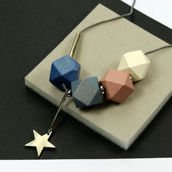2017, autumn and winter new style can be long, short fashion, art five pointed star geometry, wooden necklace, female jewelry wh