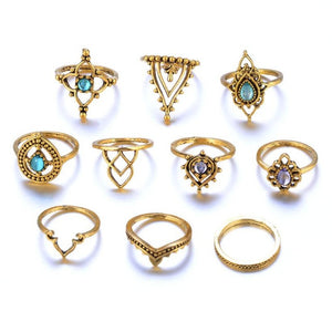 10pcs/Set Women Bohemian Vintage Silver Stack Rings Above Knuckle Blue Rings Set joint Ring Suit Punk Ball Trend All-match #45 - The Rogue's Clothes