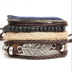 New Men's Braided Leather Stainless Steel Cuff Bangle Bracelet Wristband Multi - layer bracelet